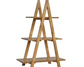Display Unit, Ladder Style Open Design, Country Style Furniture Collection, Storage Display, Solid Wood Handmade, 3 Different Size Shelves