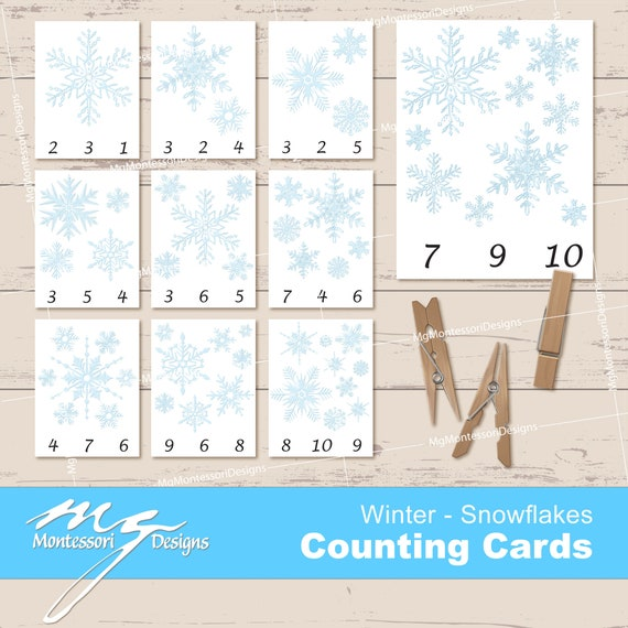Snowflakes Counting Cards  Snowflakes Clip Cards Winter