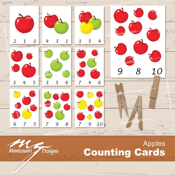 Apple Counting Cards  Clip Cards  Montessori Printables
