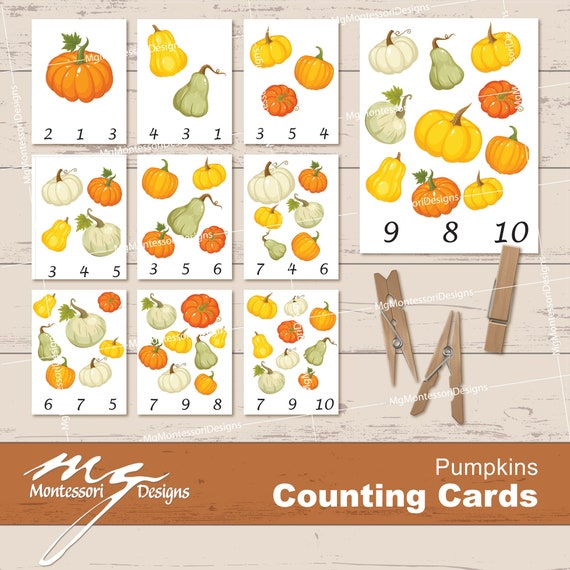 Pumpkin Counting Cards  Clip Cards  Montessori Printables
