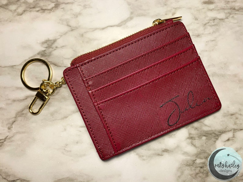 Personalized Women/'s Wallet \u2022 Leather Women/'s Wallet \u2022 Teen Gift \u2022 Custom Name Zip ID \u2022 Gift for Her \u2022 Bridemaids \u2022 Silver \u2022 Wine Girlfriend