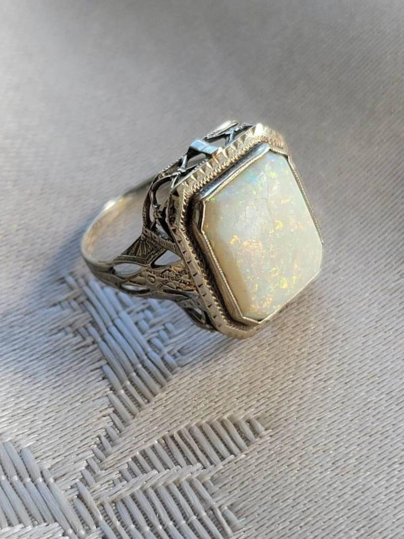 Rare Marvellous Emerald Cut Antique Art Deco Five Carat Opal image 1