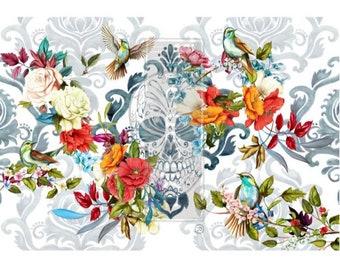 "Prima Transfer   CeCe Sweet Dreaming   Redesign With Prima   24"" x 35""   Furniture Transfers, Skull Decal, Tattoo Art Print, Alternative"