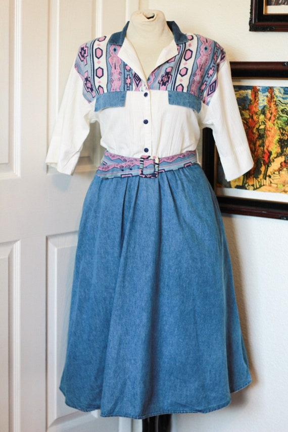 1980's Southwestern Style Shirtdress with Denim Sk
