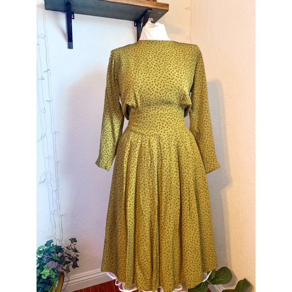 1970's/80's Olive Ditsy Floral Dress w/ Button Dow