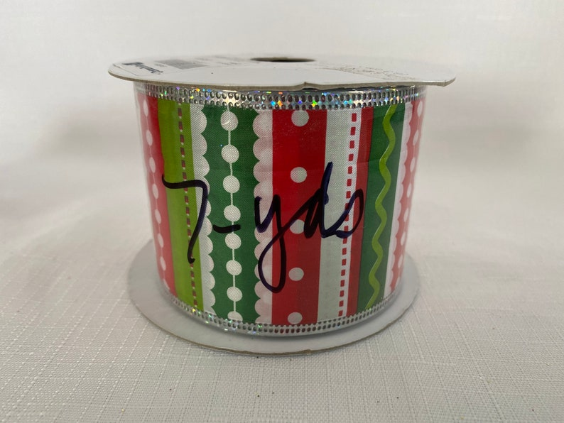 7 yards of 2.5\u201d Christmas Stripe /& Polka dot Wired Ribbon limited