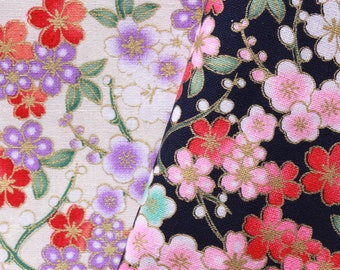 """100/% Cotton Ethnic Cherry Blossom Floral Gold Foil Fabric 60/"""" Top Quality"""