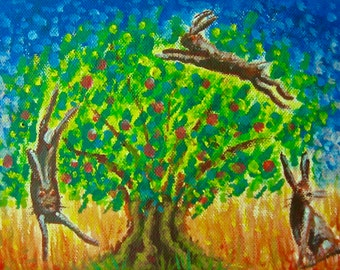 The Hare and the Healing Tree - printable blank greeting card