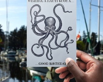 Nauti Buoy Kraken Birthday Card - printable greetings card