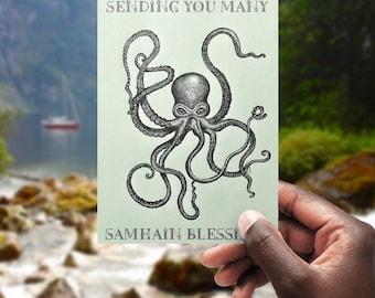 Kraken Samhain Blessings - printable, blank greeting card