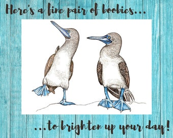 A fine pair of boobies - printable blank greeting card