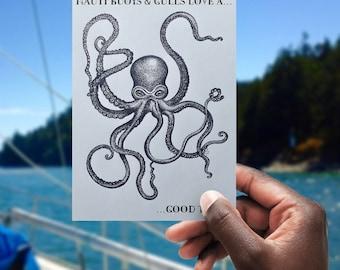 Nauti Buoys & Gulls love a kraken good time - printable blank greeting card