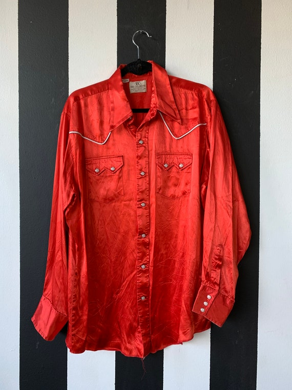 50s Red Satin Dee Cee Rodeo Western Snap shirt- XL