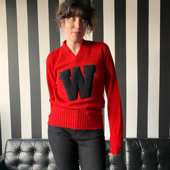 50's Wisconsin Badgers Wool Varsity Sweater - S/M