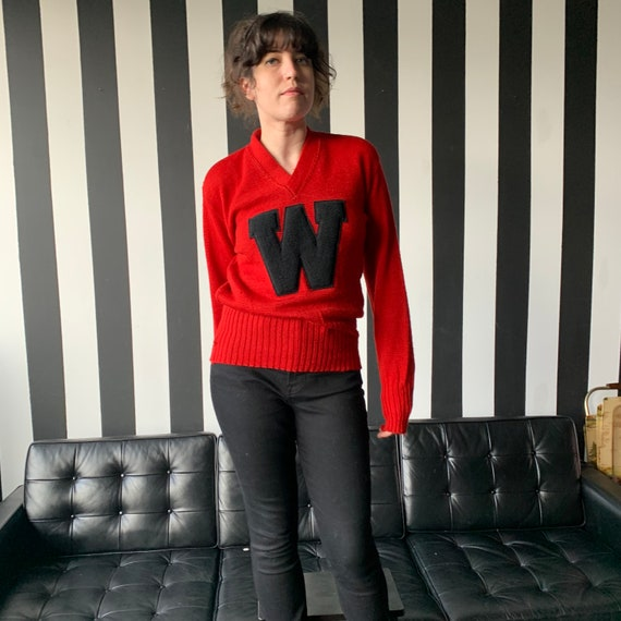 50's Wisconsin Badgers Wool Varsity Sweater - S/M - image 3