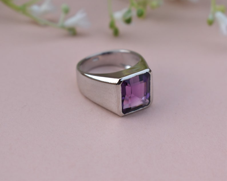 Natural Amethyst Ring  Sterling Silver Ring  Statement Ring  Cocktail Ring  Engagement Ring  African Amethyst February Birthstone Ring