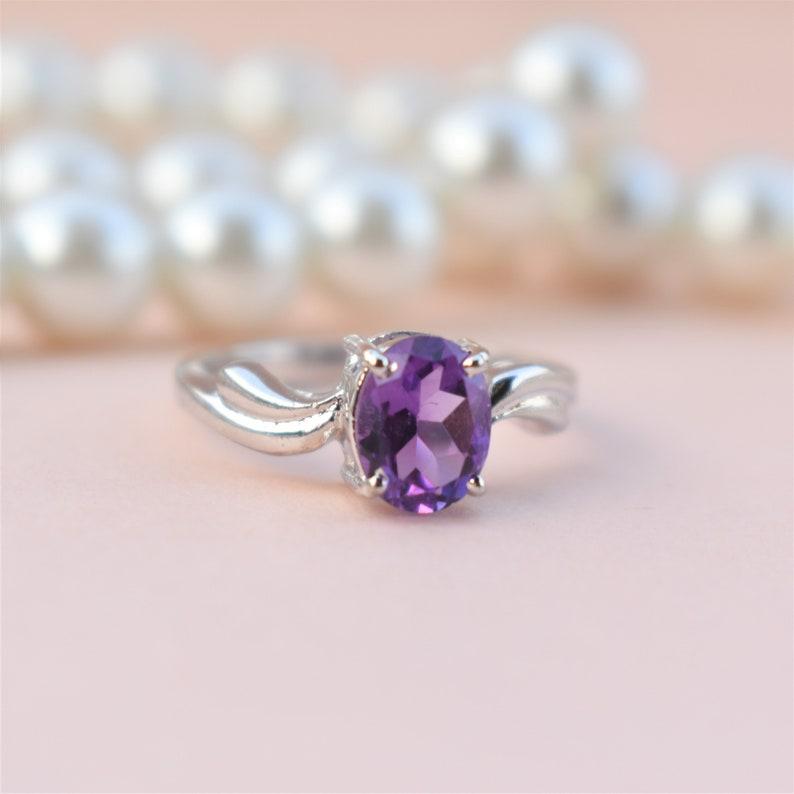 Amethyst Ring  925 Sterling Silver Ring  Statement Ring  Stackable Ring  Engagement Ring  African Amethyst  February Birthstone Ring
