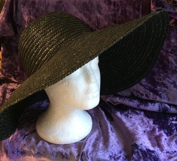 Big black  hat vintage wide brim r sunhat  straw