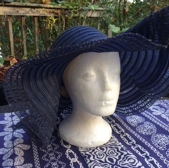 Blue floppy  hat vintage wide brim  sunhat vintage