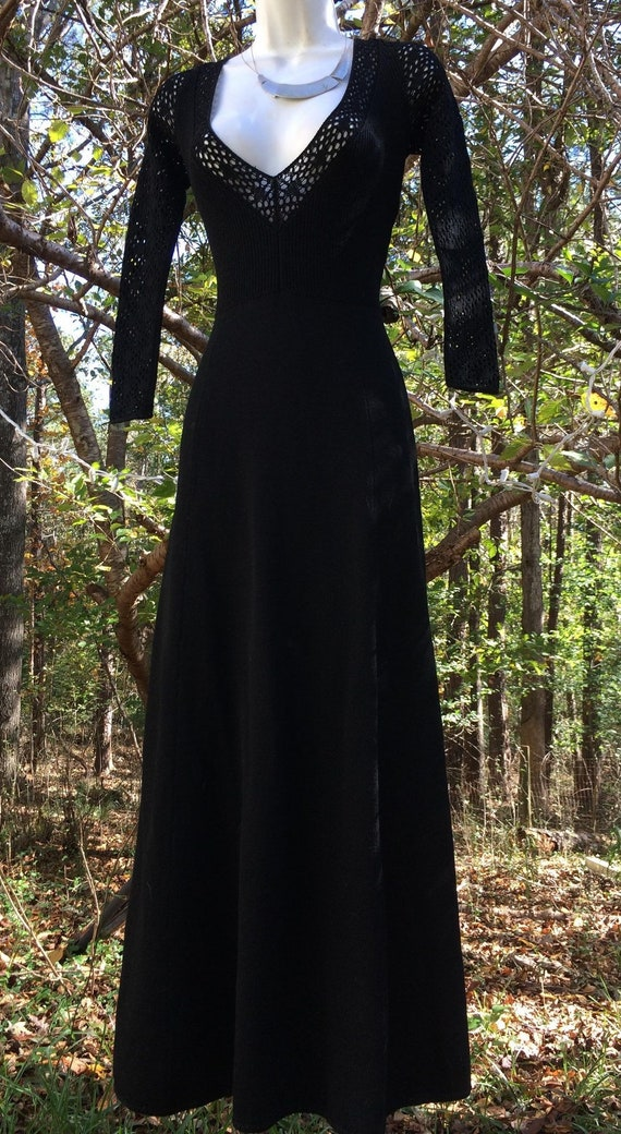 Black gothic dress  knit sweater crochet  vintage
