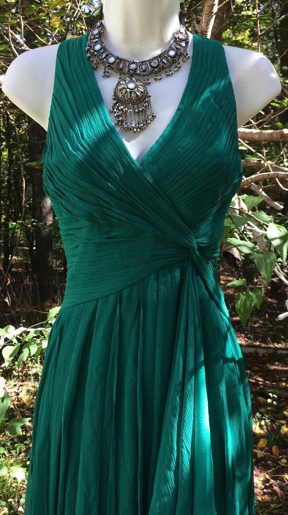 Green chiffon dress gown floaty costume  vintage w
