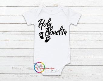 Futura Abuelita Grandma Baby Onesie\u00ae Spanish Pregnancy Announcement Onesie\u00ae Hola Abuelita Onesie\u00ae Spanish Baby Onesie\u00ae