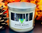 Warm Woods - 18oz 3 Wick Scented Soy Candle Fall Autumn Fragrance