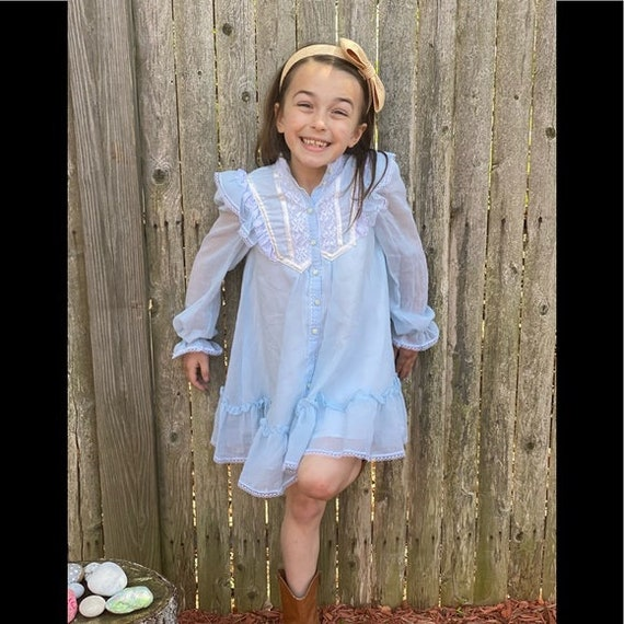 Gunne Sax prairie style kids dress light blue - image 10