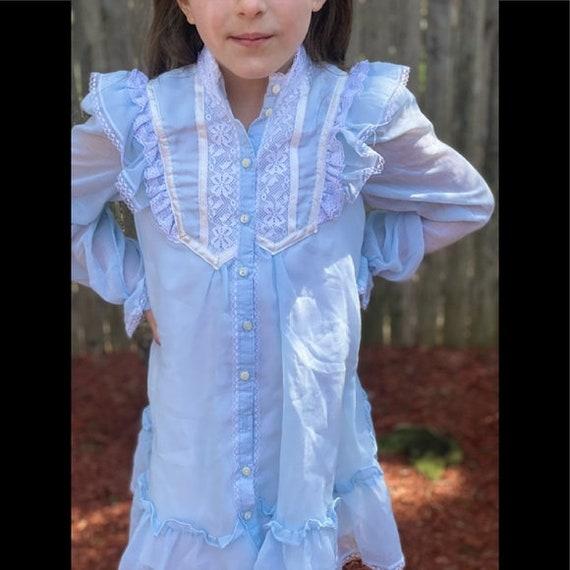 Gunne Sax prairie style kids dress light blue - image 3