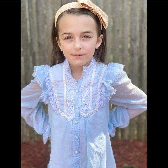 Gunne Sax prairie style kids dress light blue - image 4
