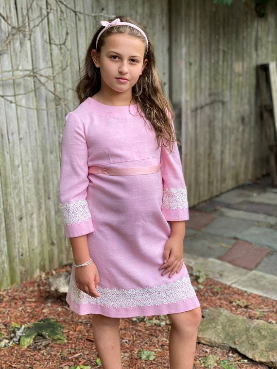 Vintage Pink dress with lace trim