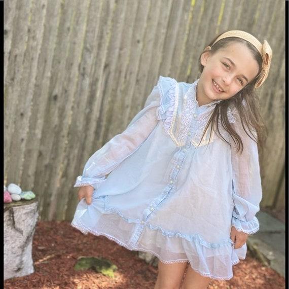 Gunne Sax prairie style kids dress light blue - image 8