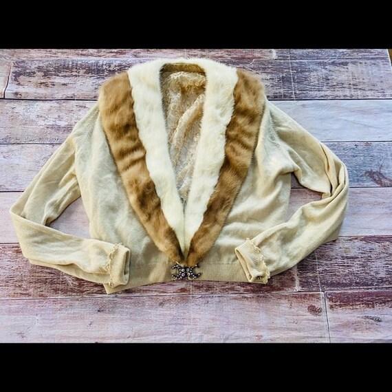 Vintage fur trimmed shrug sweater