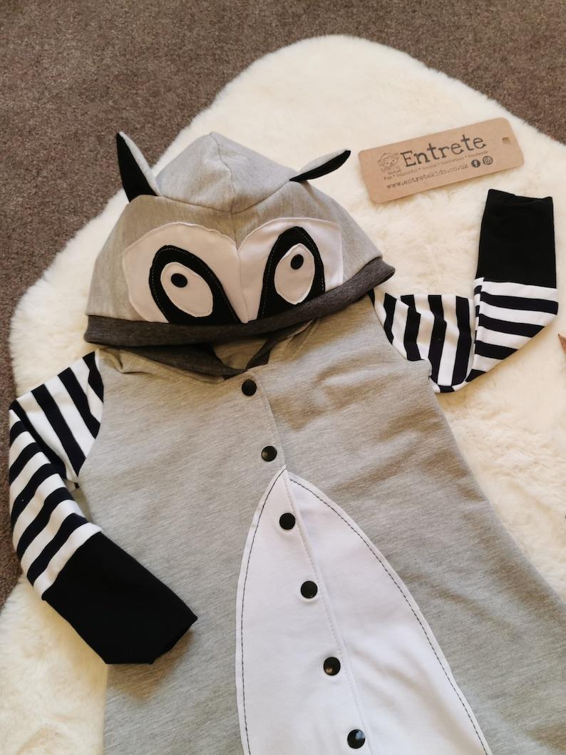Fun Romper Unisex Kids Romper Raccoon Romper Raccoon Costume Animal Romper Babies Playsuit Kids Onesie Unisex Babies Bodysuit