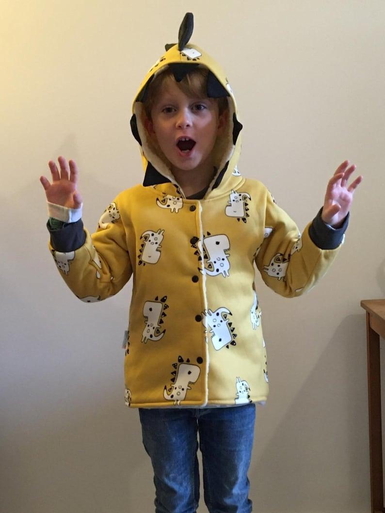 Warm Winter Coat Sherpa Fur Coat Reversible Coat Mustard Kids Coat Fun Dinosaur Coat Unisex Kids Coat Jacket Soft Baby Coat