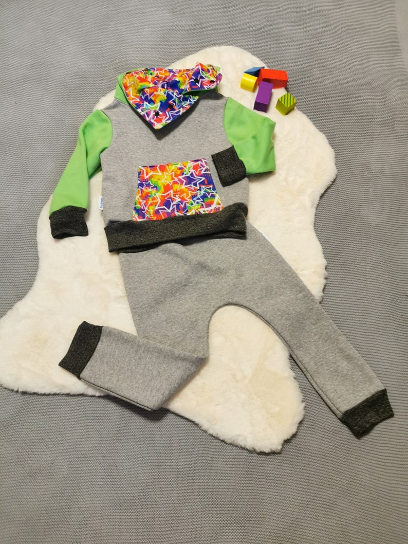 Grey with Colourful Stars Unisex Kids Trousers Unique Kids Pants Harem Joggers Unisex Kids Pants Jogging Bottoms Harem Pants