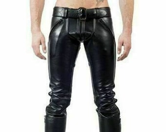 Men/'s High Quality Lambskin Leather Motorbike Racing Pants and Bluf Gay Trousers