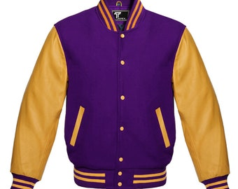 New Letterman American Varsity Jacket Purple Wool with Gold Real Leather Sleeves Handmade jacket