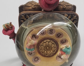 """Vintage Music Box Snow Globe Old Fashioned Telephone with Mice """"Enesco Type"""" Benefits Charity"""