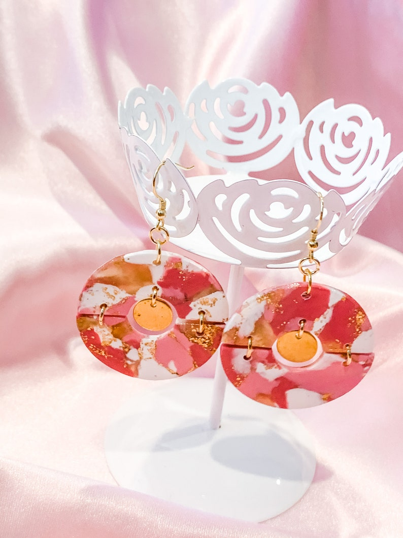 Breast Cancer Awareness Pink Circle Statement Earrings Pink Howlite