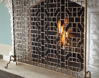 Iron Fireplace Screen Etsy