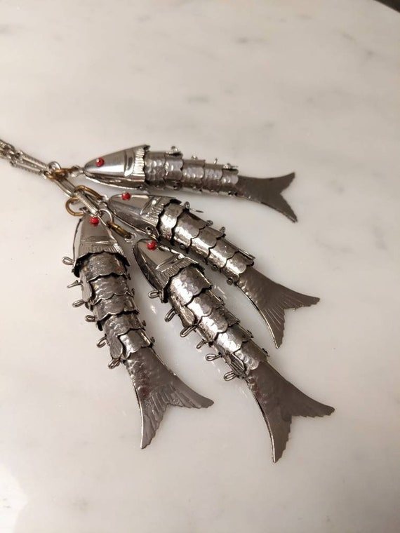 Articulated Fish Statement Necklace