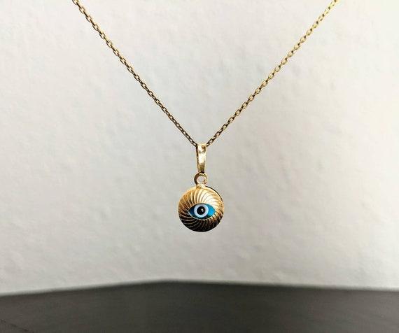 14k Gold Dainty Evil Eye Necklace