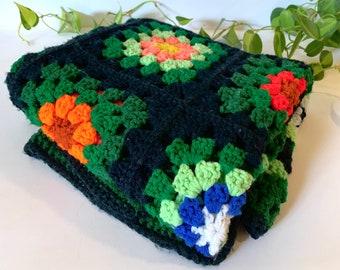 Vintage handmade Afghan with floral detailing - vintage green and black Afghan - vintage handmade blanket