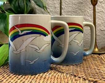 2 Glazed Stoneware Otagiri Style Seagull Ocean Coffee Tea Cups Mugs Brown Tan