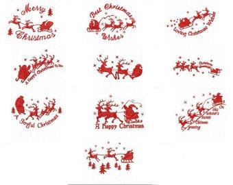 Santa Sleigh -Merry Christmas Machine Embroidery Design- 20 Designs  Bundle- 3 sizes -  Instant Download