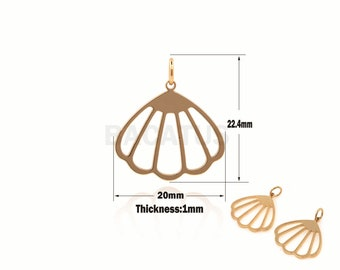 Fan-Shaped Pendant Hollow Shell Pendant For Jewelry Making 22.4x20x1mm 1pcs Gold-Plated Shell Charm Fan-Shaped Charm