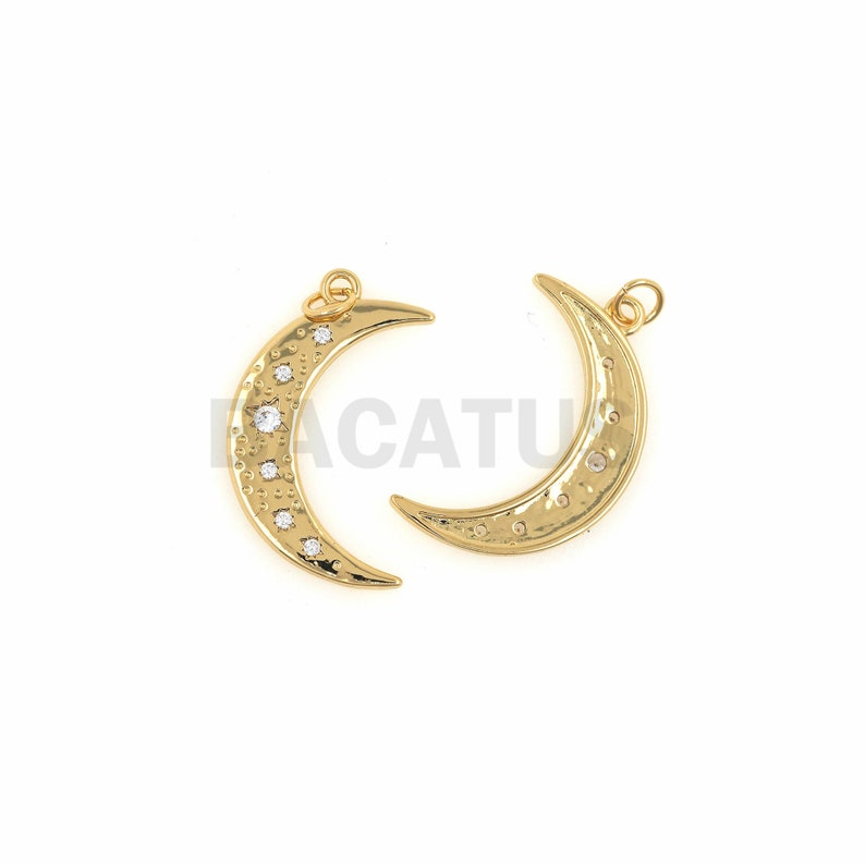 Crescent-Shaped Necklace Covered With Moon Ornaments 1PCS Half-Moon Pendant DIY Making Supplies 26.5x14x1.5mm Crescent-Shaped Charm