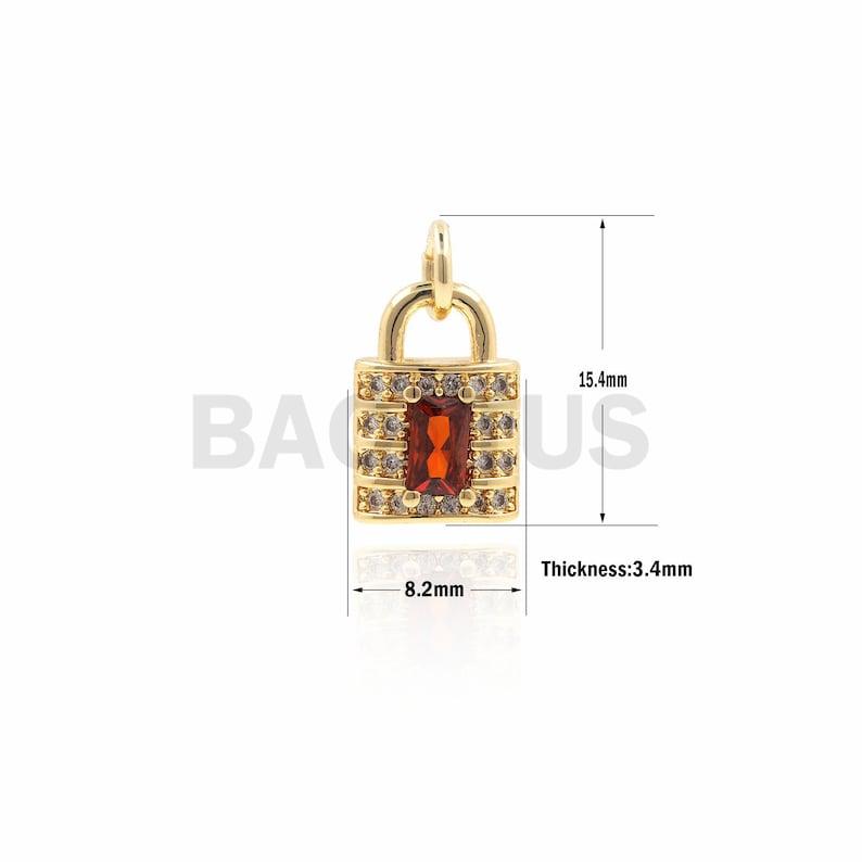 Golden Padlock Ornaments 1PCS 18K Gold Lock Gold Pendant Delicate Lock Necklace DIY Jewelry Making Supplies 15.4x8.2x3.4mm