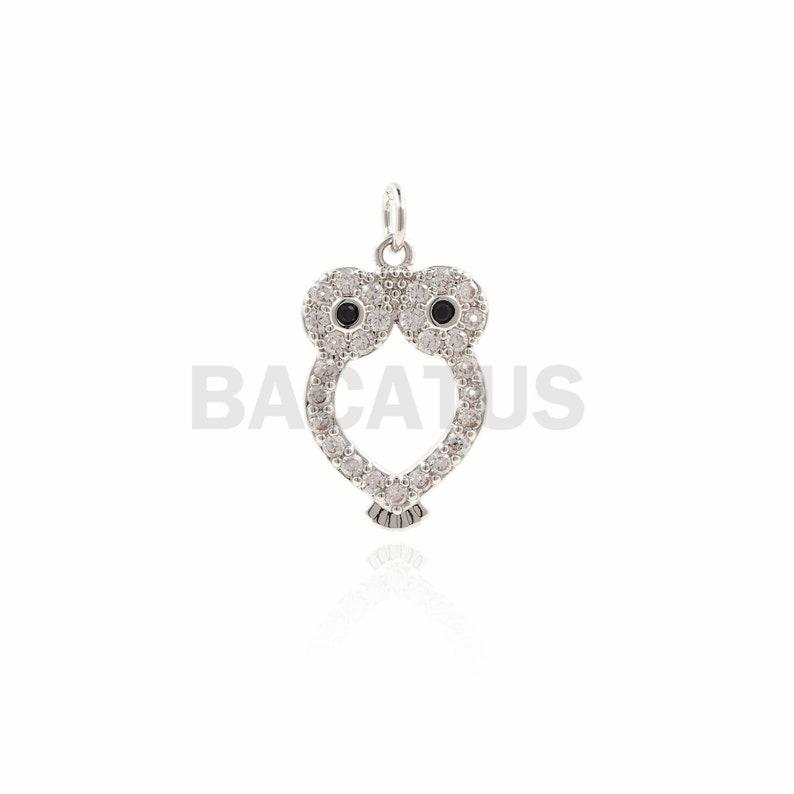 Micropave Animal Pendant CZ Owl Necklace 1PCS Owl Pendant 19\u00d710.3\u00d71.6mm Animal Charm Owl Charm
